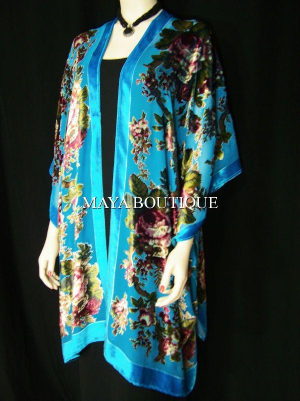 MAYA BOUTIQUE - Silk Caftan Kimono Jacket Velvet Turquoise Gypsy ...